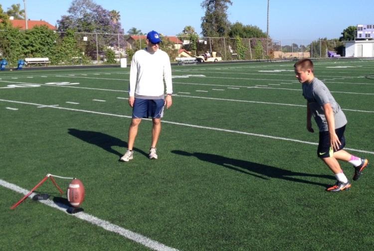 San Diego Kicking Coach working with Portland Kicker